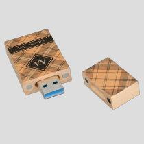 Beige and Brown Tartan Wood Flash Drive