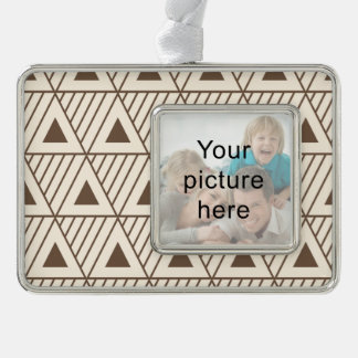 Beige and brown triangles christmas ornament