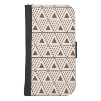Beige and brown triangles samsung s4 wallet case