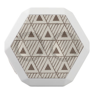 Beige and brown triangles white bluetooth speaker