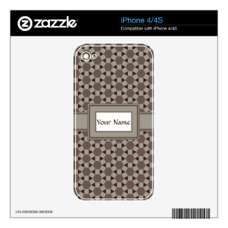 Beige and Browns Geometric Tessellation Pattern iPhone 4 Decals