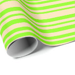 [ Thumbnail: Beige and Chartreuse Colored Stripes Pattern Wrapping Paper ]