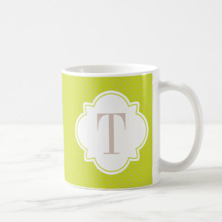 Beige and Chartreuse Green Quatrefoil Monogram Coffee Mug