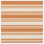 [ Thumbnail: Beige and Chocolate Pattern of Stripes Fabric ]