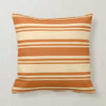 [ Thumbnail: Beige and Chocolate Pattern of Stripes Pillow ]