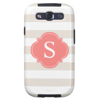 Beige and Coral Stripes Monogram Samsung Galaxy SIII Case
