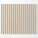 [ Thumbnail: Beige and Cornflower Blue Striped Pattern Wrapping Paper ]