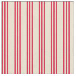 [ Thumbnail: Beige and Crimson Colored Stripes Fabric ]