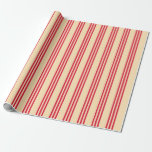 [ Thumbnail: Beige and Crimson Colored Stripes Wrapping Paper ]