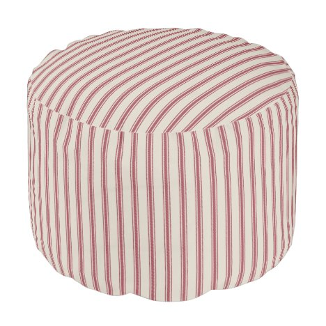 Beige and Crimson Red Classic Ticking Stripes Pouf