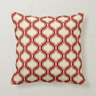 Beige And Crimson Red Geometric Pattern Throw Pillow