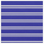 [ Thumbnail: Beige and Dark Blue Colored Pattern Fabric ]