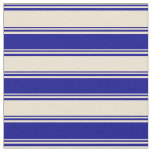 [ Thumbnail: Beige and Dark Blue Colored Pattern of Stripes Fabric ]