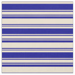 [ Thumbnail: Beige and Dark Blue Colored Striped/Lined Pattern Fabric ]