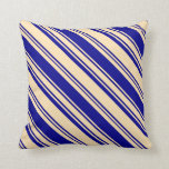 [ Thumbnail: Beige and Dark Blue Colored Striped/Lined Pattern Throw Pillow ]
