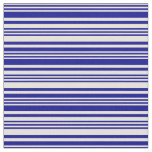 [ Thumbnail: Beige and Dark Blue Colored Stripes/Lines Pattern Fabric ]