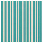 [ Thumbnail: Beige and Dark Cyan Colored Stripes Fabric ]