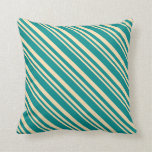 [ Thumbnail: Beige and Dark Cyan Colored Stripes Throw Pillow ]