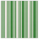 [ Thumbnail: Beige and Dark Green Colored Lined Pattern Fabric ]