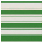 [ Thumbnail: Beige and Dark Green Colored Lines Pattern Fabric ]