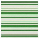 [ Thumbnail: Beige and Dark Green Striped Pattern Fabric ]