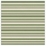 [ Thumbnail: Beige and Dark Olive Green Colored Stripes Fabric ]