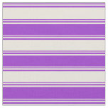 [ Thumbnail: Beige and Dark Orchid Colored Lined Pattern Fabric ]