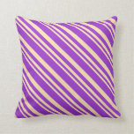 [ Thumbnail: Beige and Dark Orchid Colored Lines Throw Pillow ]