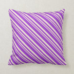 [ Thumbnail: Beige and Dark Orchid Lined Pattern Throw Pillow ]