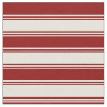 [ Thumbnail: Beige and Dark Red Striped/Lined Pattern Fabric ]
