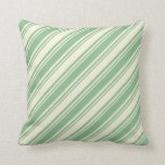 [ Thumbnail: Beige and Dark Sea Green Lined Pattern Pillow ]