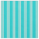 [ Thumbnail: Beige and Dark Turquoise Lined Pattern Fabric ]