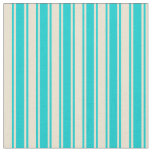 [ Thumbnail: Beige and Dark Turquoise Lined/Striped Pattern Fabric ]