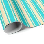 [ Thumbnail: Beige and Dark Turquoise Lined/Striped Pattern Wrapping Paper ]