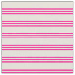 [ Thumbnail: Beige and Deep Pink Stripes Fabric ]