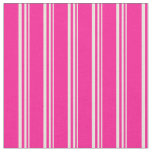 [ Thumbnail: Beige and Deep Pink Stripes Pattern Fabric ]