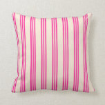[ Thumbnail: Beige and Deep Pink Stripes Throw Pillow ]