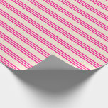 [ Thumbnail: Beige and Deep Pink Stripes Wrapping Paper ]