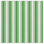 [ Thumbnail: Beige and Forest Green Colored Stripes Fabric ]