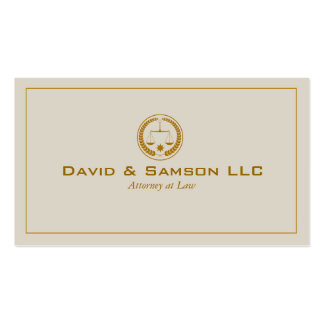 Beige And Gold Classic Attorney At Law Business Card
