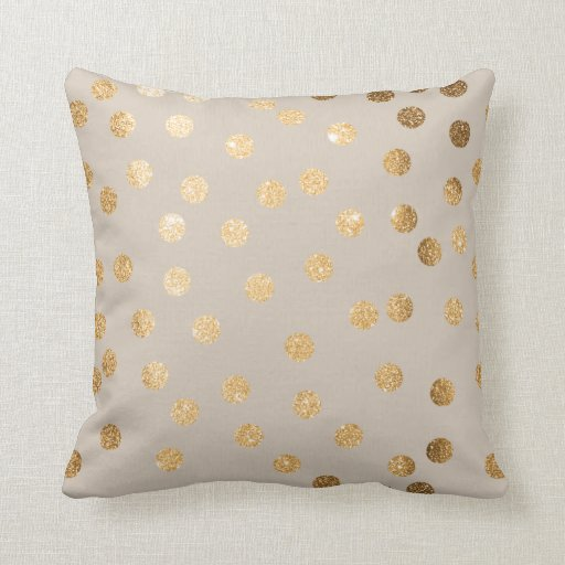Beige and gold glitter polka dot pillow zazzle for Beige and gold pillows