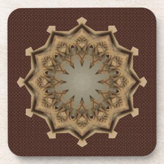 Beige And Gold Mandala Beverage Coaster