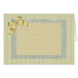 Beige and Green Abstract Border Card