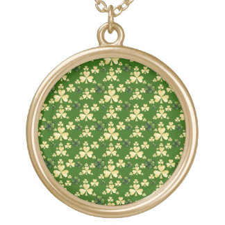 Beige and green clover gold plated necklace
