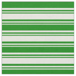 [ Thumbnail: Beige and Green Colored Lined Pattern Fabric ]
