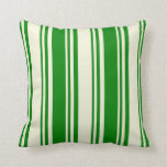 [ Thumbnail: Beige and Green Colored Lined Pattern Throw Pillow ]