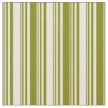 [ Thumbnail: Beige and Green Colored Striped Pattern Fabric ]