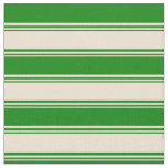 [ Thumbnail: Beige and Green Lines/Stripes Pattern Fabric ]