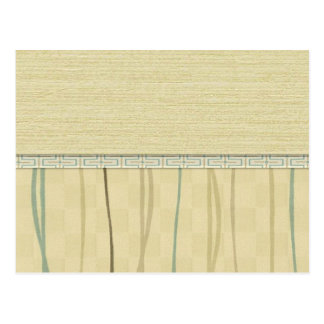 Beige and Green Mod Stripe (4) Postcard