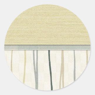Beige and Green Mod Stripe Classic Round Sticker